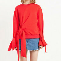 Womens Red Long Sleeve Knot Tie Sweatshirt Ladies Casual Pullovers Sweats Tops