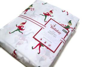 Pottery-Barn-Kids-Christmas-Holiday-Elf-Organic-Cotton-Full-Sheet-Set-New