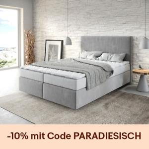 Bett Dream-Well Grau 140x200 cm mit Matratze und Topper Boxspringbett