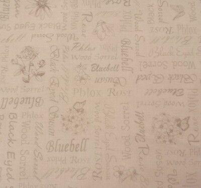 "30"" Floral Etchings Kensington Quilting Treasure Flower Names Taupe Light Beige"