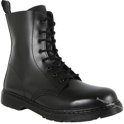 Boots And Braces Easy 8-Loch Schwarz Leder Stiefel Schuhe Neu