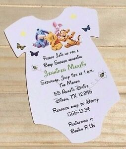 Set of 10 winnie the pooh boy or girl baby shower invitations with image is loading set of 10 winnie the pooh boy or filmwisefo