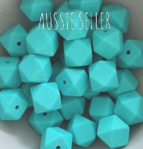 10 silicone beads TURQUOISE 17mm hexagon BPA free sensory teething jewellery DIY