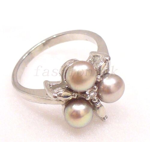 Authentic 3 Pearl Ring Size M Silver Plated 18KGP White Black Pink Lilac UK