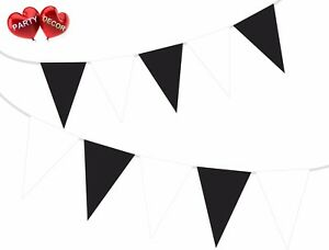 Black-amp-White-Wedding-Colours-Bunting-Banner-15-Flags-12ft-by-PARTY-DECOR