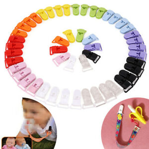 5X Colored Plastic Suspender Soother Pacifier Holder Dummy Clips For Baby Supply