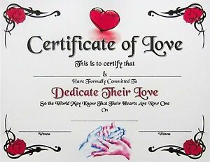 Certificate of Love Spiritual Marriage Promise Dedication Joining Wedding Gift
