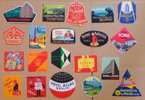 SET of 20 Hotel Luggage Labels World Travel Vintage Retro Suitcase Decal Sticker