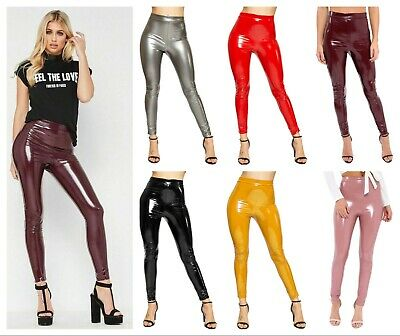WOMENS LADIES STRETCH SHINY PU PVC HIGH WAISTED WETLOOK LEGGINGS PLUS SIZE 8-22