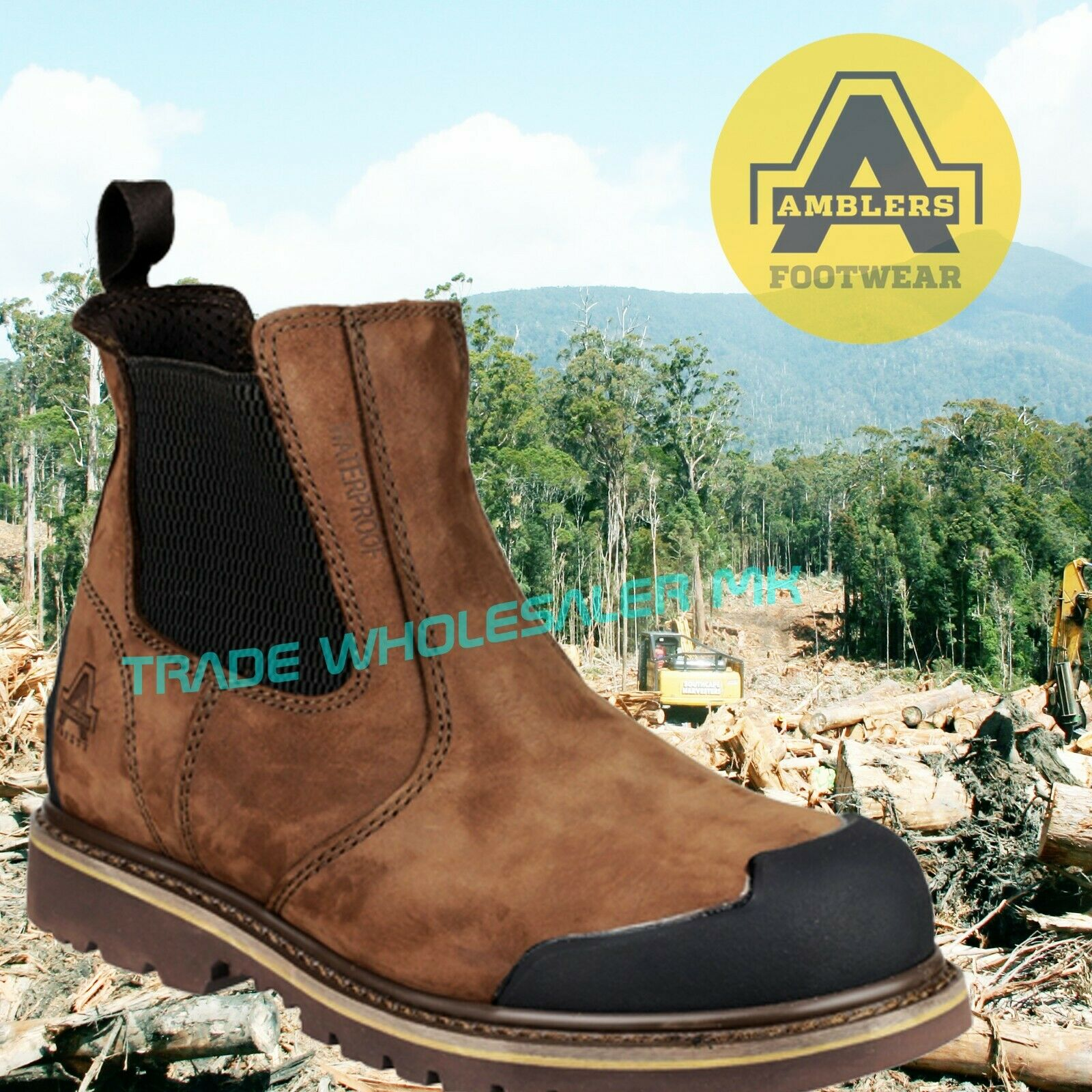 AMBLERS FS225 S3 brown safety dealer boot with midsole /& bump cap size 6-13