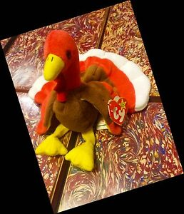 RARE-GOBBLES-TY-ERRORS-EXTRA-TAG-ELITE-BEANIE-BABY-1996-PVC-TURKEY-RETIRED-COOL