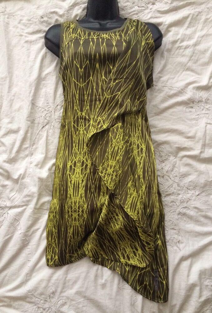 (#1432) Dkny Nouveau! Bnwt Asymétrique Imprimé Shift Robe Taille 0 Us Ou Uk 6