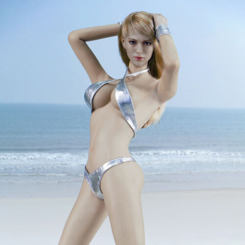"1//6 Silber BH G-String Bikini Set Kleidung für 12 /""HT PH Medium Bust Female"