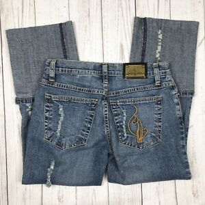 843ebfe7378 BABY PHAT Denim Cuffed Crop Jeans Juniors 3 Blue Crop Distressed ...