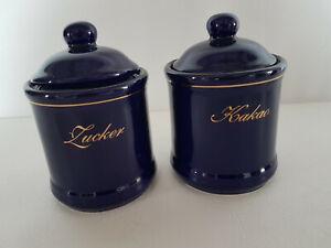 2 Keramik Vorratsgefäße Kakao und Zucker in blau
