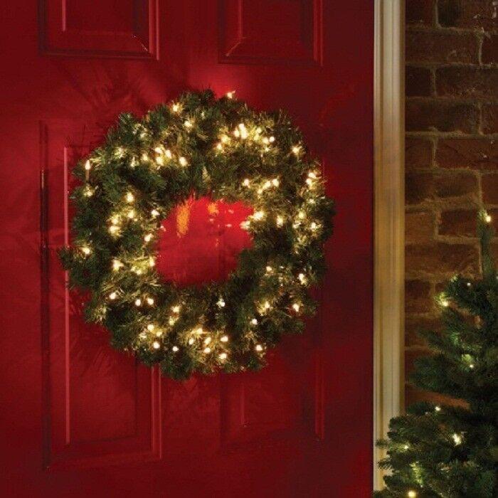 Christmas Wreath Light Up 50 x Warm WeißLED Pre Lit Wreath 61cm Door Wall Decor