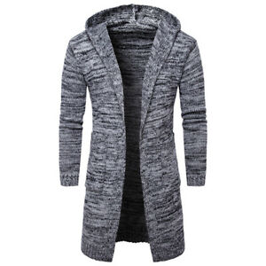 Thick-Long-Men-039-s-Cardigan-Hooded-Knit-Coat-Fashion-Warm-Fit-Slim-Jacket-Sweater