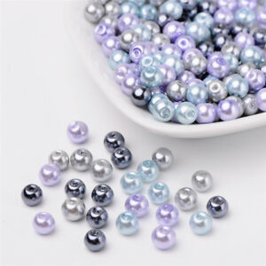 1 Bag Mixed Color Pearlized Glass Beads Pearl Beads 4mm//6mm//8mm Beading Jewelry