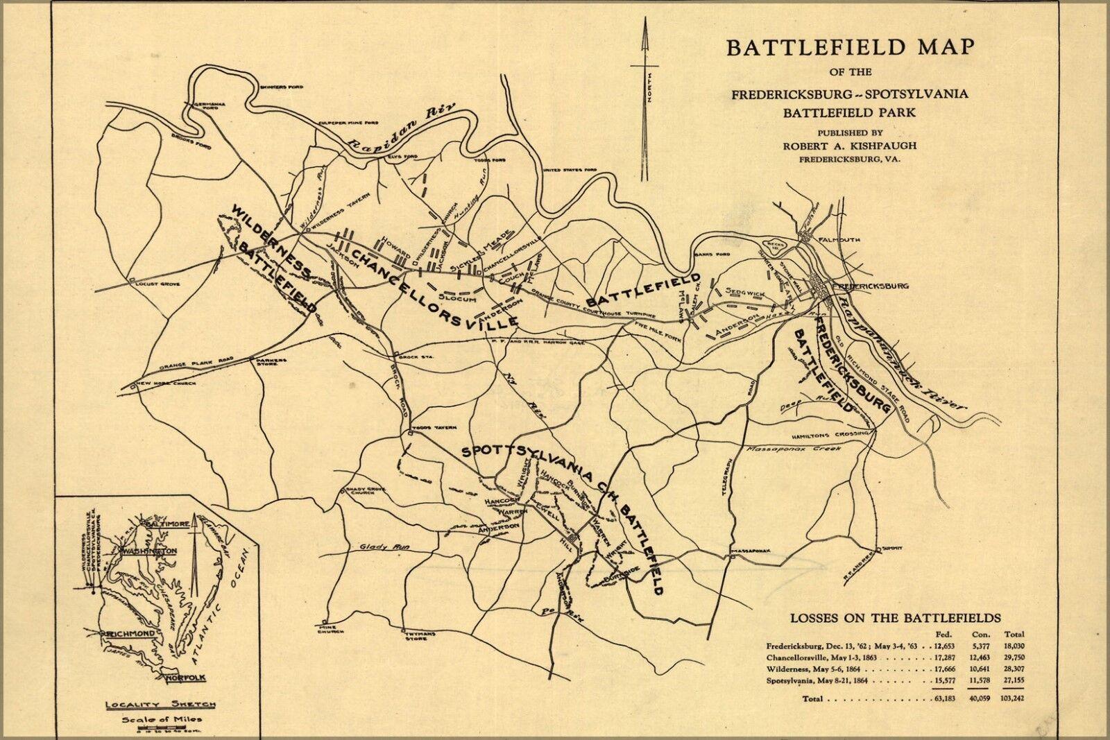 Plakat, Viele Größen; Kampf Field Karte von Frotericksburg Spotsylvania