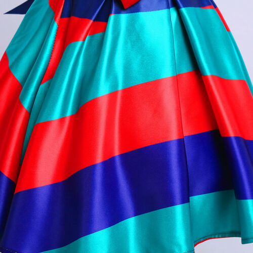 Childrens Kids Girls Striped Formal Fancy Princess Party Pageant Dress K45
