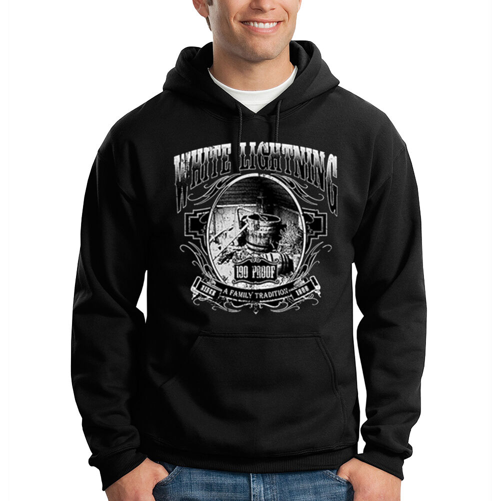 White Lightning 190 Proof Moonshine Whiskey Alcohol Hooded Sweatshirt Hoodie