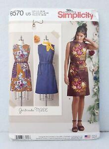 Simplicity-8570-Gertrude-Made-Dress-Sleeveless-Knee-Length-Tie-Waist-sz-16-24