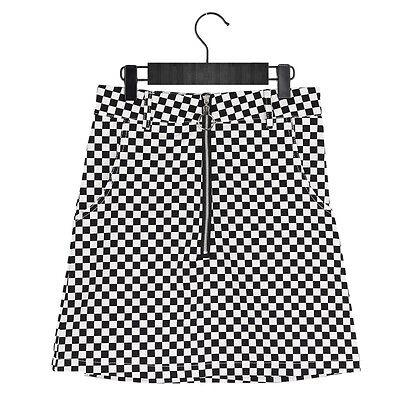Summer Black White Plaid Circle Zipper Mini Skirt High Waist Punk Style Dress