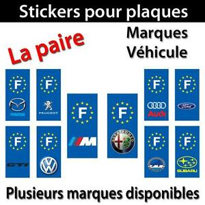 lot de 2 sticker plaque immatriculation adh sif autocollant logo marque voiture ebay. Black Bedroom Furniture Sets. Home Design Ideas