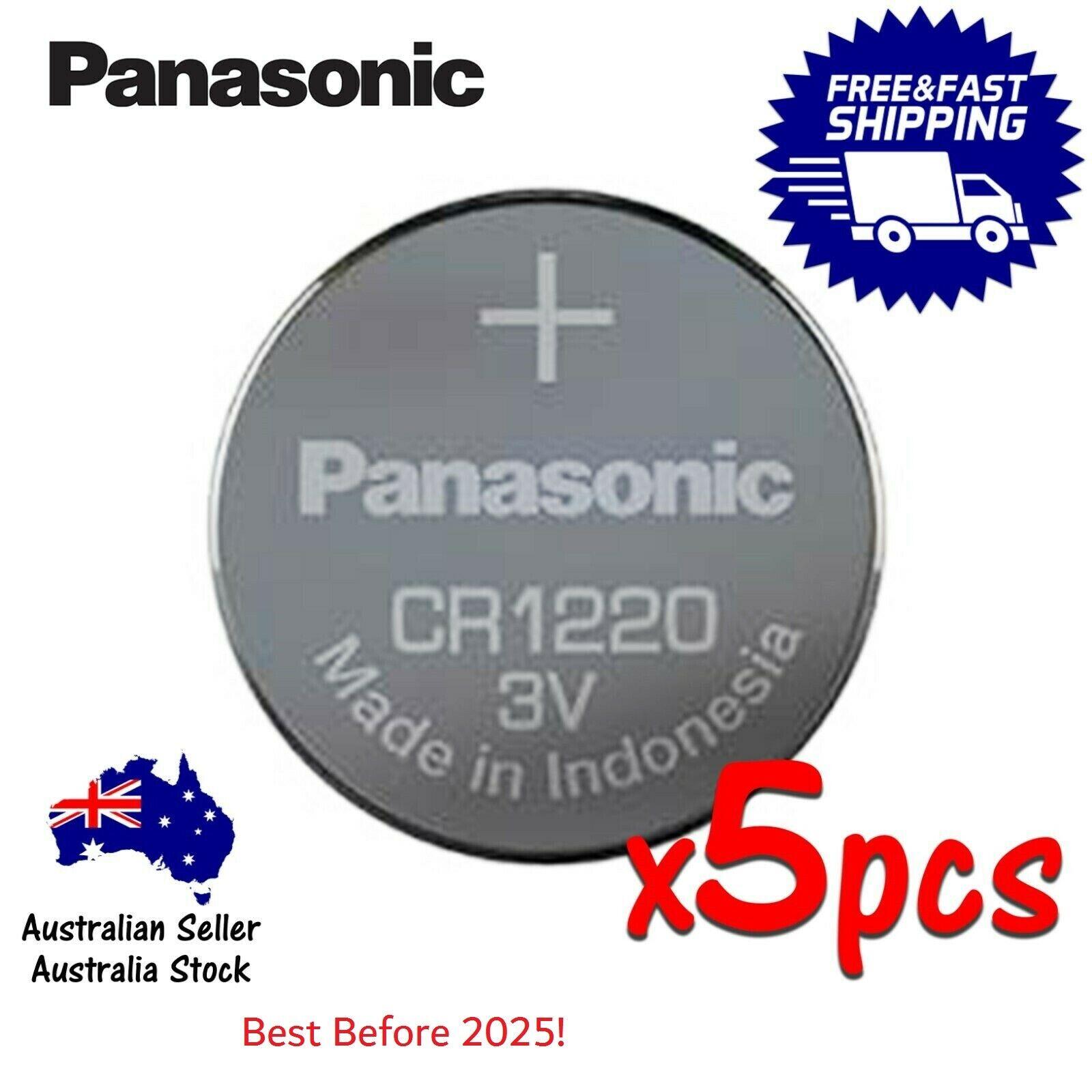 Genuine Panasonic CR1220 Li Battery 3V Exp 03/2025 Post from Sydney 5pcs/1pack
