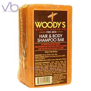 WOODY'S Hair & Body Shampoo Bar For Men 8oz, Shea Butter, Tea Tree, Hemp Seed Oi