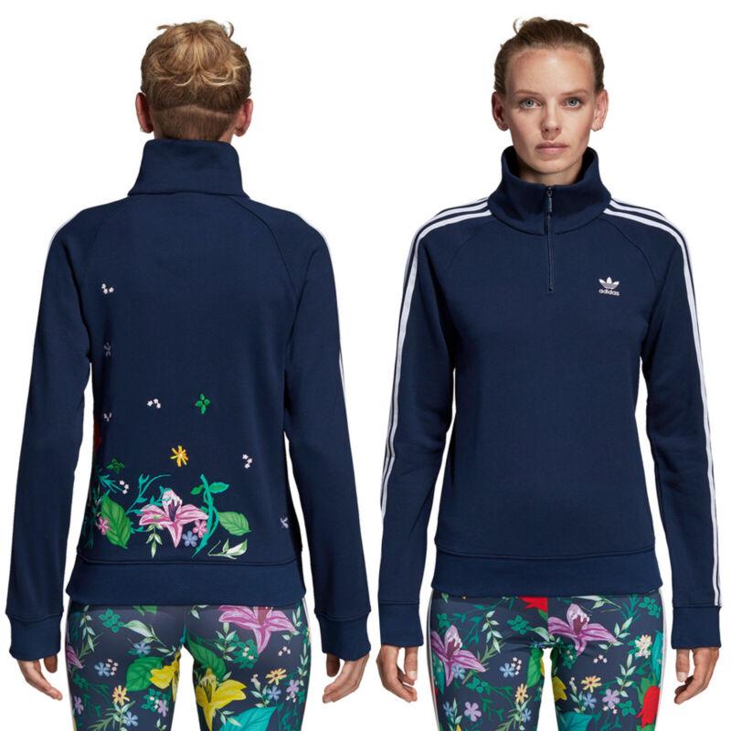 Adidas Originals Damen Graphic Sweatwhirt Zip Sweater Blumen Rückenprint Navy