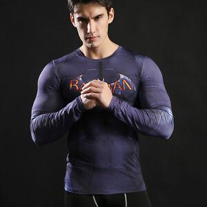 Mens-long-sleeve-compression-top-gym-superhero-avengers-marvel-muscle-Batman