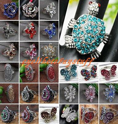 Flower/Skull/Tortoise/Butterfly Cocktail Rhinestone Finger Ring Gothic Jewelry