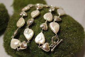 Sterling-Silver-925-Hand-Crafted-Heart-Pearl-Necklace-18-inches-Toogle-Clasp