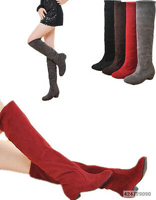 Women's Faux Suede Boots Leisure Low Heel Knee High Shoes US All Size YB065