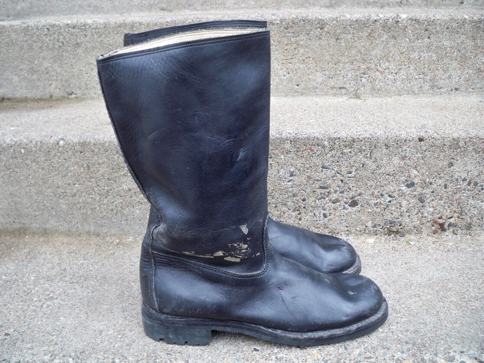 12  Vintage Leather Motorcycle Engineer Chopper Riding Mens Pull-On Boots 10 US