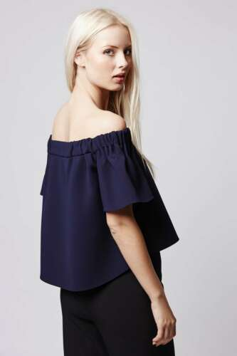 Blue Shoulder Topshop Top Bardot Uk8 Premium Bnwt Structured Off zEBqxq