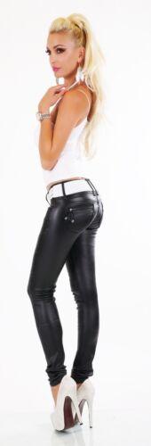 skinny nera Siz motociclista da Pantaloni da bagnato 14 donna pelle in Jeans 6 effetto Cintura inclusa qpnaRdtt