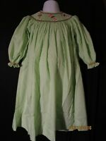 Smocked Christmas Candy Cane Green & Wt Stripe Bishop Dress Holiday Remember