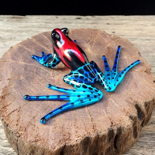 Cute Red Frog Hand Blown Glass Hand Painted Miniature Figurine Collectibles Gift