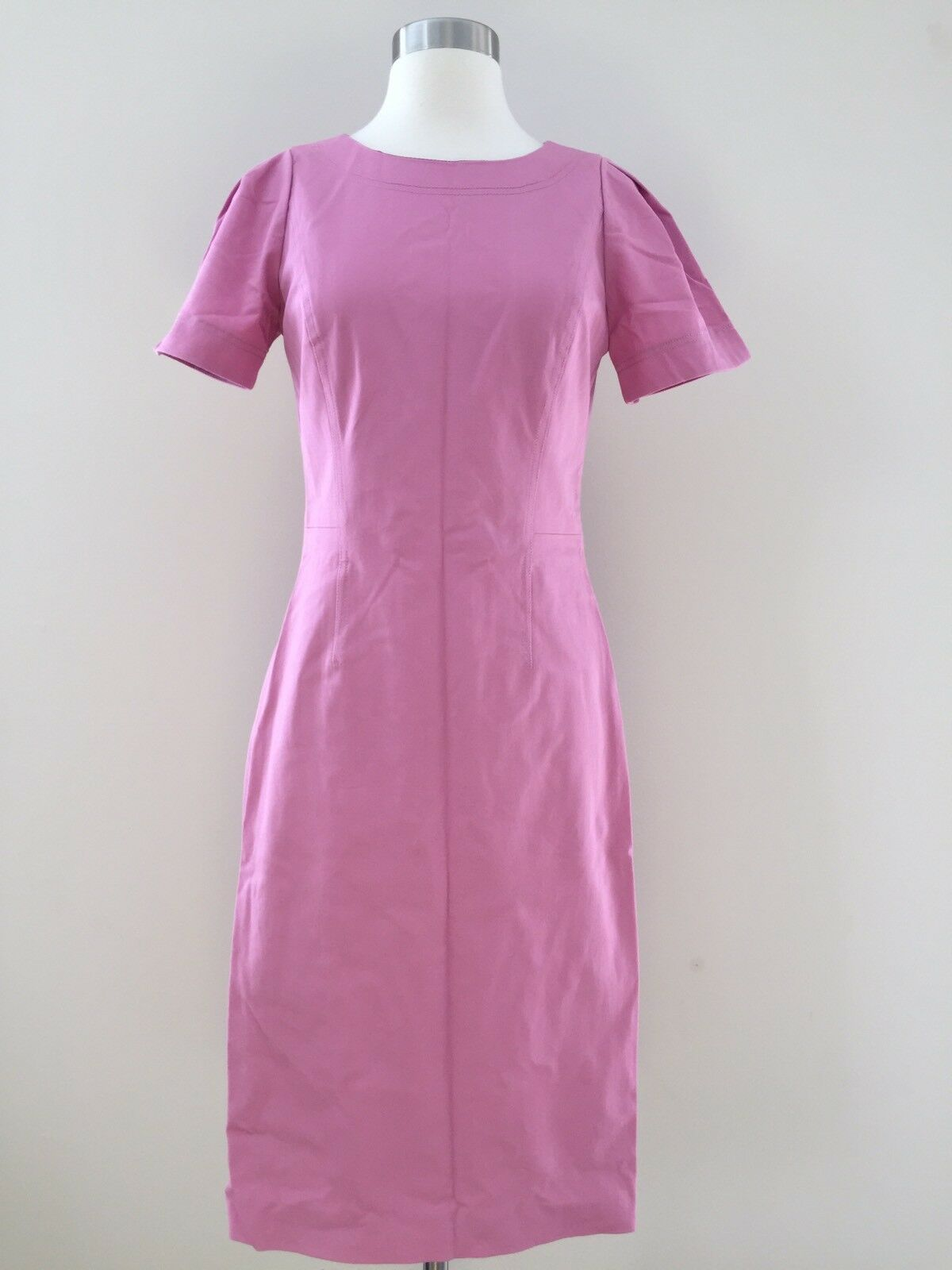 J.Crew Tall gathered-sleeve dress two-way stretch cotton G3932 2T Pink