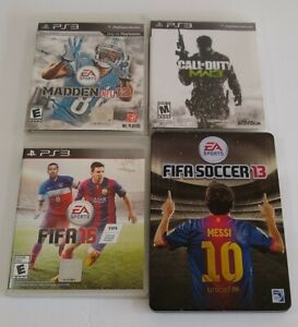 PlayStation-3-PS3-Game-Lot-of-4-Fifa-Soccer-13-amp-15-Madden-13-Call-of-Duty-MW3