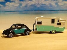 Matchbox 1962 VW Beetle & Shasta Camper 1:64 Scale Diecast Diorama Vacation Set