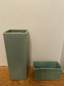 Tall-Mid-Cent-McCoy-Pottery-Floraline-Jade-Color-Vase-amp-EW-Pottery-Planter