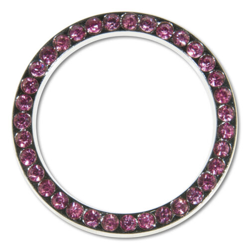 Pink Ring+Caps 2 PACK Shining 7 Rows PINK Diamond Metal License Plate Frame