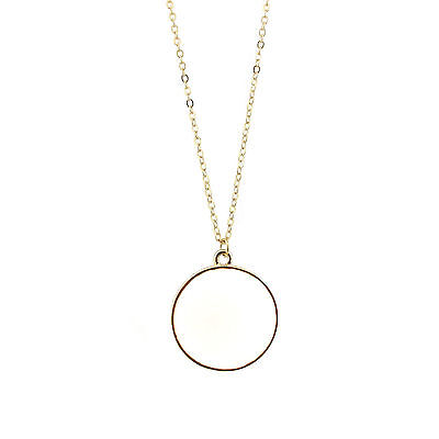 Fashion Circle Enamel Disc Pendant Necklace Enameled Round Long Necklace Chain