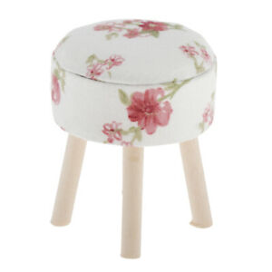 Small-1-12-Doll-House-Miniature-Chair-Upholstered-Round-Stool-Furniture-Ornament