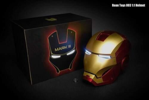 ROAN Toys Tony Stark Iron Man Mark3 MK3 1//1 Helmet Mask Auto Light Up In Stock