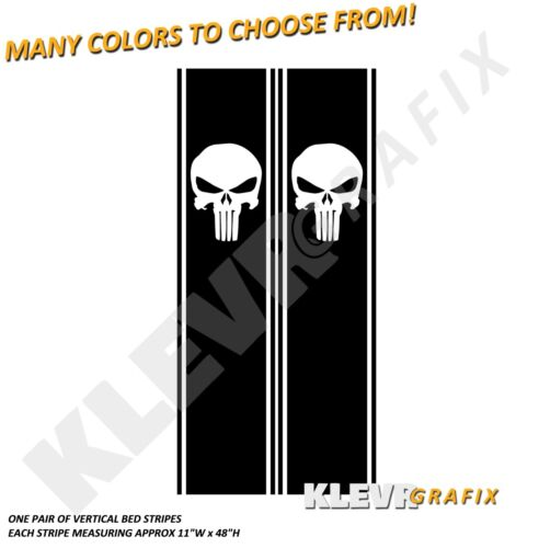 Universal Punisher Truck Rear Vertical Bed Stripes Vinyl Decal Graphics Racing