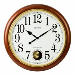 Details About Rhythm Deluxe Round Wooden Chiming Pendulum Wall Clock 20 Chime Options